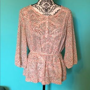 Guess Los Angeles Flirty Sheer Floral Blouse M
